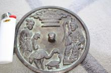 Song Dynasty Chinese bronze mirror: turtle, crane, people