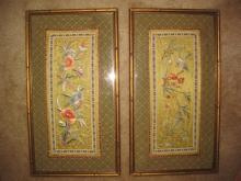 Pair framed Chinese Embroidery: Flowers, birds, butterflies