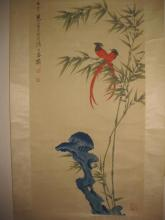Chinese hanging scroll painting: 2 tropical red birds, attr Jian Han Ting