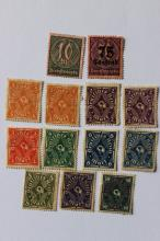 Antique German Weimar Republic 13 stamps, Coach Horn 1921-1923