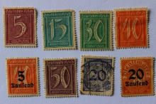 Antique 8 stamps, Weimar Republic Germany 1921-1923