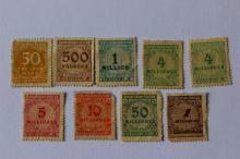 German Weimar Republic, Overprinted 9 stamps 1923