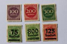 German Weimar Republic New daily & Overprinted 6 stamps, 1923