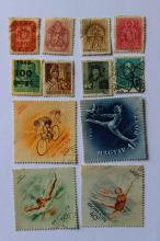 Collection of 12 used stamps, Hungary, 1945 and later