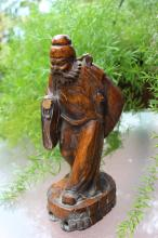 Genuine Qing Dynasty Chinese carved wooden, Buddhist Zen master Damo