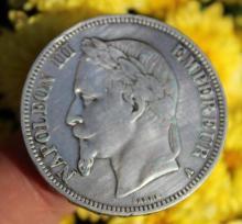 French silver 5 franc coin Emperor Napoleon III, 1868