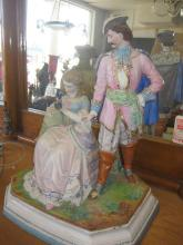 European Antique Porcelain Figurines: Hussar and Lady