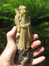Antique Chinese carved soap stone- Old Philosopher