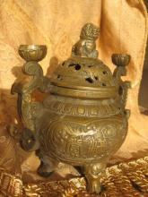 Ming Dynasty Bronze/Copper Lion Incense Burner with Lion on lid