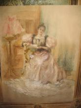 Graceful lady reading a letter, Watercolor, France, 19th century