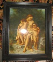 Nude mother with 2 nude boys, Oil painting on porcelain