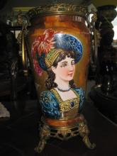Porcelain 32 cm vase with young lady, France, B C Cie 8