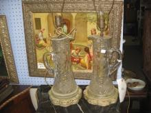 Pair of vintage crystal jars converted into electrical lamps