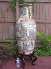 PORCELAIN GILT CHINESE ROSE MEDALLION FLOOR VASE 95 cm with stand