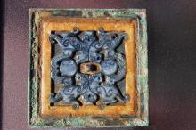 Chinese jade square bronze mirror with inlaid carved jade, Warring States period(?)