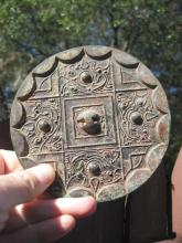 W. Han Dynasty, Chinese bronze mirror, 4 dragons, arc, 124mm
