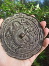 Tang Dynast, Chinese bronze lobed mirror, Flying Dragon