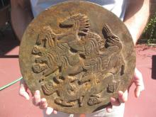 Tang, Unearthed, mysterious iron mirror, 8 Horses, 32cm