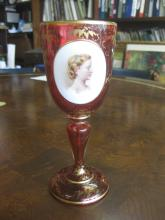 Bohemian red wine glass, hand painted, young woman portrait, Austria, circa 1865