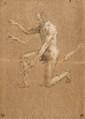 Pierre PUVIS DE CHAVANNES (1824-1898)Études d'apôtreDeux dessins, fusain et rehauts de craie blanche H 43,5 L 31 cm(Pliures et accidents)(cto-verso), signé en bas à droite