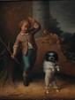 École BELGE du XIX° siècle.Jeune garçon et son chienToile47,5 x 37,5 cmPorte une signature en bas à gauche Van den Eycken