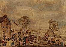 École FLAMANDE d_e la fin d_u XVI° siècle, entourage d_e Hans BOL (1534-1593)  Deux scènes de village  Paire de papiers marouflés sur panneau  23 x 31 cm (restaurations)