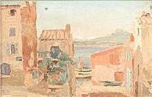 Alphonse ROUSSEL (1829-1868)  Ruelle de Saint-Tropez  Huile sur isorel signé en bas à gauche  28 x 35,5 cm