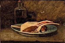 Marie BRODBECK (Active à Paris d_ans la d_euxième moitié d_u XIX° siècle)  Nature morte aux côtes d'agneau  Sur sa toile d'origine  22,5 x 32,5 cm  Signée en bas à droite Marie Brodbeck