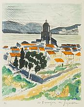 André DUNOYER DE SEGONZAC (1884-1974)  Saint-Tropez,1964  Eau-forte en couleurs,  Signée en bas à droite et numérotée 87/100 en bas à gauche  37,5 x 27,5 cm