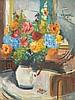 Fritz ZOLNHOFER (1896-1965)  Bouquet de fleurs  Huile sur toile, signée en bas à droite  80 x 60 cm