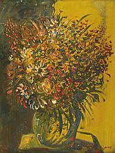 Sylvain VIGNY (1902-1970)  Bouquet de fleurs  Huile sur carton, signée en bas à droite  64 x 50 cm