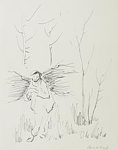 Edouardo VICENTE (1909-1968)  Paysan au fagot  Encre,signéeenbasàdroite,titréeaudos.  33 x 25 cm