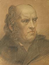 École FRANÇAISE XIX° siècle  Portrait d'homme  Fusain et rehauts de sanguine et craie blanche  42 x 31,5 cm