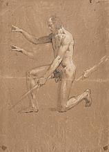 Pierre PUVIS DE CHAVANNES (1824-1898)  Études d'apôtre  Deux dessins, fusain et rehauts de craie blanche sur une feuille.  H : 43,5 ; L : 31 cm  (Pliures et accidents)  Signé en bas à droite