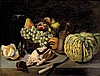 École FRANÇAISE du XIX° siècle Nature morte au poulet et au melon Nature morte avec un hamster Paire de toiles, la première est sur sa toile d'origine. Signées et datées en bas à droite J.Hanaued /1878 52,5 x