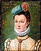 École FRANÇAISE du XIX° siècle  Portrait d'Anne du Freslay de Kerleo  Panneau. Titré en haut dame Anne du Freslay / de Kerleo 1516  25 x 20 cm