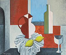 Juan FERNANDEZ (1926-2004) Nature morte aux d_eux citrons  Huile sur toile, signée en bas à gauche, titrée au dos.  54 x 65 cm