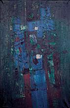Jean COUY (1910-1983)  Composition, 1962  Huile sur toile signée et datée en bas à gauche.  146 x 96,5 cm