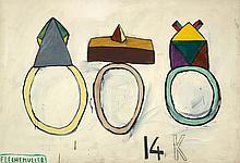 Jacques FLECHEMULLER (né en 1945)  14K,1984  Acrylique sur toile signée et datée en bas à gauche.  160 x 230 cm