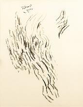 Pierre TAL-COAT (1905-1985)  Sans titre  Fusain, signé en haut vers la gauche.  71,5 x 52 cm