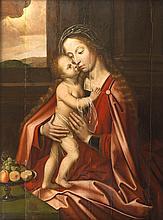 École FLAMANDE de la fin du XVI° siècle, suiveur d'Adriaen van YSENBRANT Vierge à l'Enfant Panneau 104 x 77 cm Fentes au panneau et restaurations Reprise avec des variantes, notamment la nature morte à gauche, du panneau