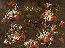 Pieter Frans CASTEELS (Anvers 1675 - après 1698) L'Annonciation dans une guirlande de fleurs Le mariage de la Vierge dans une guirlande de fleurs Paire de toiles 79,5 x 109 cm (Usures) La première porte une signature en bas à gauche
