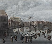École HOLLANDAISE vers 1660  Patineurs sur la Spaarne à Haarlem  Toile  63 x 76 cm