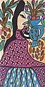 BAYA (1931-1998)  Femme au bouquet  Gouache, signée en bas au centre  100 x 51 cm