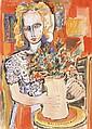 école de l'Est (XX°)  Fillette au bouquet  Encre et gouache  62 x 43 cm