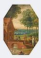 École FLAMANDE  du XVIII° siècle  Scène biblique dans  un paysage  Cuivre octogonal  11,5 x 8 cm  (Usures)