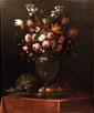 Attribué Benito ESPINOS   (1748 - 1818)  Bouquet de fleurs aux fruits  Bouquet de fleurs aux noisettes et au verre  Paire de toiles, sur leur toile d'origine  114 x 95 cm   (restaurations)