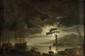Ecole FRANCAISE de la fin du XVIII° siècle, suiveur de Claude Joseph VERNET Clair de lune Toile 65 x 99 cm Reprise de la toile (66 x 98 cm) conservée au musée du Louvre (voir F. Ingersoll-Smouse, Claude Joseph Vernet, volume I, Paris, 1926, n° 443,