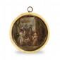 Ecole FRANÇAISE vers 1770 La visite à la nourrice Miniature sur ivoire. (Ancien couvercle de boîte) Le thème de la nourrice, de l'enfant, et de la mère, est récurrent dans la peinture de genre à partir des années 1760, quand l'intimité et la