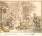 Ecole FRANÇAISE du XVIII° siècle Achille reconnu par Ulysse chez les filles de Lycomède Mine de plomb et rehauts d'aquarelle. 34,5 x 38,5 cm Thétys, mère d'Achille, savait que son fils mourrait à la guerre. Elle le protégea en le cachant, déguisé en